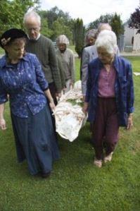 En route to shroud burial.